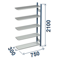 Cinkoti metala modulu plaukti Metro 300 x 750 x H2100 mm, papildsekcija W0046