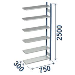 Cinkoti metala modulu plaukti Metro 300 x 750 x H2500 mm, papildsekcija W0048