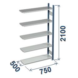 Cinkoti metala modulu plaukti Metro 500 x 750 x H2100 mm, papildsekcija W0054