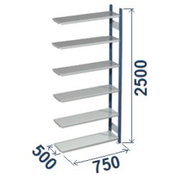 Cinkoti metala modulu plaukti Metro 500 x 750 x H2500 mm, papildsekcija W0056