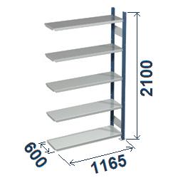 Cinkoti metala modulu plaukti Metro 600 x 1165 x H2100 mm, papildsekcija W0042
