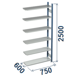 Cinkoti metala modulu plaukti Metro 600 x 750 x H2500 mm, papildsekcija W0060