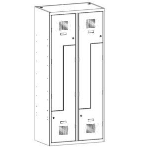 Drebju skapis ar Z-veida durvim SUL 42 W 2 x 400 mm
