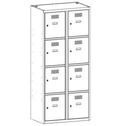 Personigo lietu skapis SUS 424 W 2 x 400 mm 8 durvis