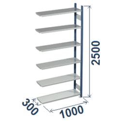 Cinkoti metala modulu plaukti Metro 300 x 1000 x H2500 mm, papildsekcija W0016