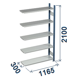 Cinkoti metala modulu plaukti Metro 300 x 1165 x H2100 mm, papildsekcija W0030