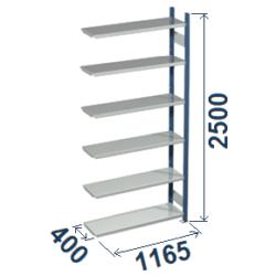 Cinkoti metala modulu plaukti Metro 400 x 1165 x H2500 mm, papildsekcija W0036