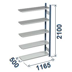 Cinkoti metala modulu plaukti Metro 500 x 1165 x H2100 mm, papildsekcija W0038