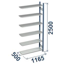 Cinkoti metala modulu plaukti Metro 500 x 1165 x H2500 mm, papildsekcija W0040