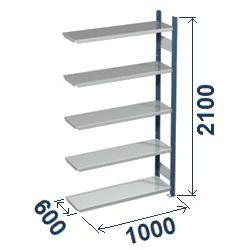 Cinkoti metala modulu plaukti Metro 600 x 1000 x H2100 mm, papildsekcija W0026