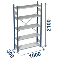 Cinkoti metala modulu plaukti Metro 300 x 1000 x H2100 mm, pamatsekcija M213010