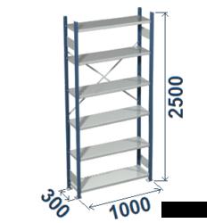Cinkoti metala modulu plaukti Metro 300 x 1000 x H2500 mm, pamatsekcija M253010