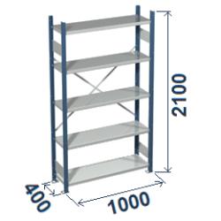 Cinkoti metala modulu plaukti Metro 400 x 1000 x H2100 mm, pamatsekcija M214010