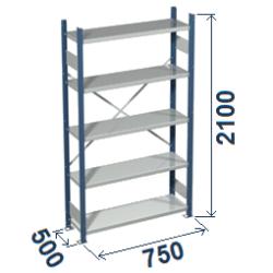 Cinkoti metala modulu plaukti Metro 500 x 750 x H2100 mm, pamatsekcija M215075