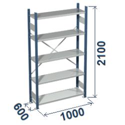 Cinkoti metala modulu plaukti Metro 600 x 1000 x H2100 mm, pamatsekcija M216010