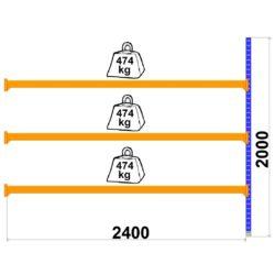 Universalais plaukts LongSpan 800 x 2400 x H2000 mm 3 plaukti papildsekcija
