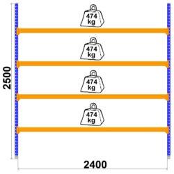 Universalais plaukts LongSpan 800 x 2400 x H2500 mm 4 plaukti pamatsekcija
