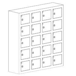 Telefonu glabasanas skapis WSS 20, 750 x 200 x 780 mm, 20 durtinas