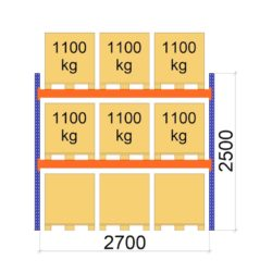 Palesu plaukts Premium 2500 x 2700 x 1100 mm pamatsekcija paletes augstums 900 mm zimejums 10580