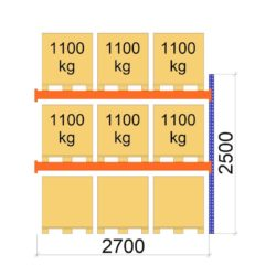 Palesu plaukts Premium 2500 x 2700 x 1100 mm papildsekcija paletes augstums 900 mm zimejums 10580