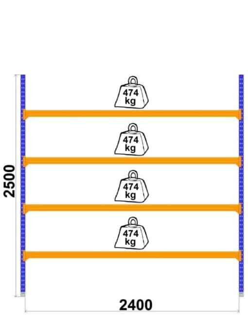Universalais-plaukts-LongSpan-800-x-2400-x-H2500-mm-4-plaukti-pamatsekcija